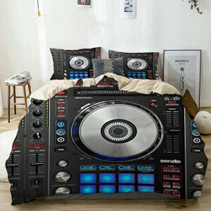 JOSENI Parure de lit,Beige,DJ Pioneer Pattern Impression 3D,1 Housse de Couette 140×200 + 2 Taies d'Oreillers