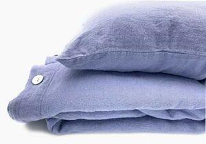 JOWOLLINA Parure de lit 100 % lin délavé 220 g/m² (bleu lavande, 135 x 200 cm)