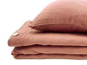 JOWOLLINA Taie d'oreiller 100 % lin Stonewashed Clay 80 x 80 cm 220 g/m²