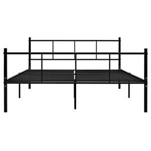 Ksodgun Cadre de lit en métal Pratique dans la Chambre, Cadre de lit en métal Noir de Style Moderne 206,4 x 145,2 x 80 cm (Longueur x Largeur x Hauteur) – avec sommier à Lattes