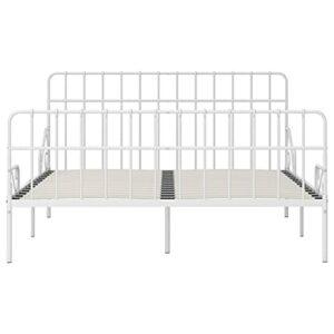 Ksodgun Cadre de lit Pratique pour Chambre, Cadre de lit en métal Blanc 204 x 205 x 95 cm (Longueur x Largeur x Hauteur) – avec sommier à Lattes