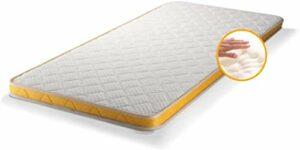 LDN Surmatelas en mousse à mémoire de forme, double face, blanc et jaune, 90 x 200 x 8 cm