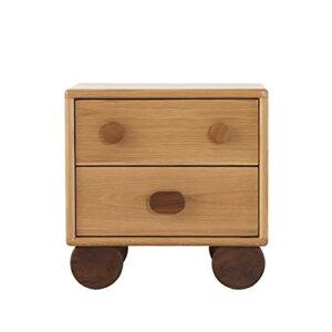 LHQ-HQ Chêne Blanc Minimaliste Moderne Table De Chevet À Deux Tiroirs Petit Appartement Meubles De Chambre À Coucher en Rondins De Style Japonais