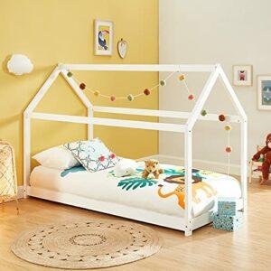 Lit cabane Enfant Montessori Tiny – Bois Massif de pin Blanc – 90x200cm