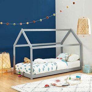 Lit cabane Enfant Montessori Tiny – Bois Massif de pin Gris – 90x190cm