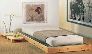 Lit en bois modèle Nokido 90 x 200 avec lattes et Tatami