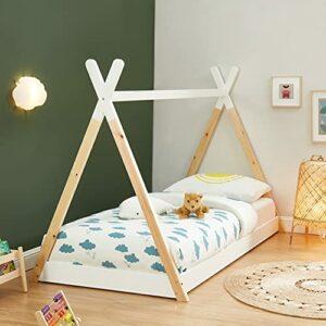 Lit tipi Enfant Montessori Tiny – Bois Massif de pin Naturel – 90x190cm