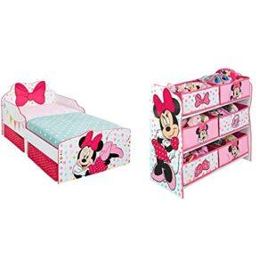 Minnie Mouse – Lit pour Enfants avec Espace de Rangement sous Le lit & Minnie Mouse – Meuble de Rangement pour Chambre d'Enfant avec 6 bacs