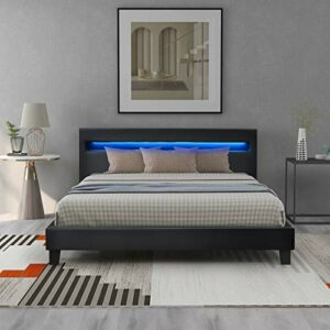 Moiitee Ndash Lit rembourré à LED avec sommier à lattes en cuir synthétique et cadre en bois avec éclairage LED Noir 140 x 200 cm