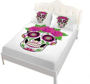 NFBZ Parure de lit 3D avec drap plat et 2 taies d'oreiller 50 x 75 cm 100 % microfibre (crâne 03,90 x 200 cm)