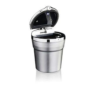 NZKW Moderner Aschenbecher Auto-Aschenbecher Abnehmbarer LED-Licht-Aschenbecher Leicht zu reinigen Multifunktionaler Aschenbecher Geeignet für Die meisten Auto-Getränkehalter (Silber) A