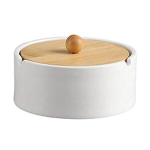 NZKW Moderner Aschenbecher Keramik Aschenbecher mit Holzdeckel Desktop Tragbare Aschenbecher Draußen und drinnen Aschenbecher Dekoration für das Home Office Aschenbecher für Die Terrass