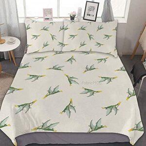 Odeletqweenry Parure de lit double avec housse de couette, motif dinosaure et animaux préhistoriques abstraits jurassiques et reptiles – 3 pièces avec 2 taies d'oreiller