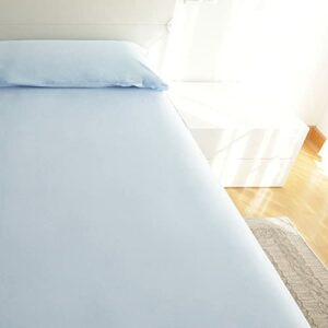 Parure de lit 3 pièces pour lit de 90 x 190/200 cm – 1 drap-housse ajustable + 1 drap plat + 1 taie d'oreiller de couleur unie (bleu clair, lit de 90 cm)