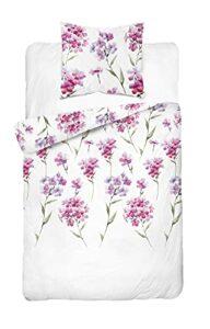 Parure de lit avec housse de couette 140 x 200 cm et taie d'oreiller 70 x 80 cm Blanc/multicolore 120 g/m² avec fermeture éclair 100 % coton
