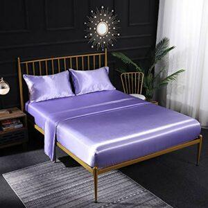 Parure de lit en satin de soie crème 3 pièces avec drap-housse en satin, drap plat, taie d'oreiller respirante, douce et confortable pour lit simple