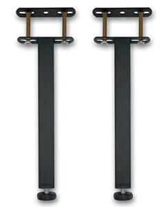 Pieds de Sommier, Pied de Lit, Pieds pour Sommier à Lattes Universel | Hauteur: 30 cm(+2cm) Reglable, 15-38cm en Option | Design: Noir | Matériel: Metal | Carré: 3 x 3cm | pour Les Cadres | Lot de 2