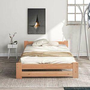 QWEPOI Lit futon en bois massif 90 x 200 cm, lit futon en bois massif naturel avec tête de lit et sommier à lattes, naturel, style simple et élégant