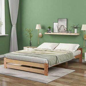 QWEPOI Lit futon en bois massif naturel avec tête de lit et sommier à lattes – Naturel (200 x 140 cm) – Style simple et élégant