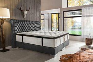 Schlichter Möbel Lit à sommier tapissier Baron Deluxe (Gris, 200 x 200 cm)