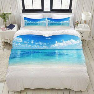 SDBUYW-ZQ Parure de lit,Ocean Natural Coastal Sandy Beach et Carribean Seashore Heavenly Paradise View,1 Housse de Couette 140×200 + 2 Taies d'Oreillers