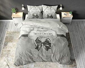 SLEEP TIME Housse De Couette Coton Romance, 220cm x 240cm, avec 2 taie d'oreiller 60cm x 70cm, Anthracite