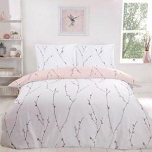 Sleepdown Parure de lit réversible avec Housse de Couette 155 cm x 220 cm et 2 taies d'oreiller 80 cm x 80 cm Motif Floral Rose poudré