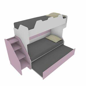 SMARTR Lit superposé avec troisième lit amovible et relevable, 80 x 190 cm, fabriqué en Italie (blanc et crème)