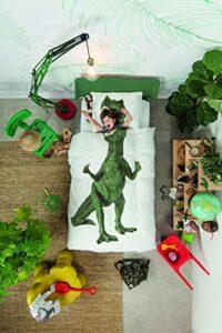 Snurk Dinosauro Housse de Couette, Percale, Blanc/Multicolore, lit Simple, 220 x 140 x 0,4 cm