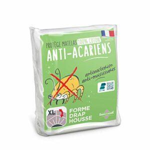 Sweethome   Protège Matelas Anti Acariens – 140×190/200 cm – Molleton 100% Coton – Doux et Confortable – Forme Drap Housse – Lavable en Machine