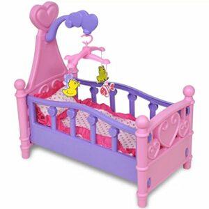 Tidyard- lit pour Enfant, Jeux de Chambre pour Enfant Berceau pour poupées Rose + Violet