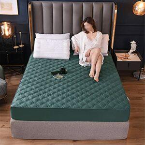 TINGCHAO Drapées ajustées Design Quiltond Design Simple Coton Pur Couverture de Matelas Fixe de Couleur Solide, y Compris la même taie d'oreiller,Dark Green,200cmx220cm