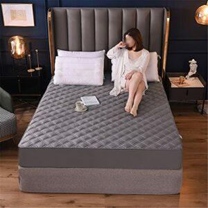 TINGCHAO Drapées ajustées Draptes mountées Design Simple Coton Pur Couleur Solide Couleur Forfait avec taie d'oreiller Couvre-lit Fixe,Gris,200cmx200cm