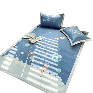 TWDYC Jeu de Tapis de Soie de Glace en Trois pièces, Lavable et Lavable à la Machine, été Mignon de Style Dessin animé Mignon Molle rattin Mat (Color : Blue, Size : 1.8m Bed)