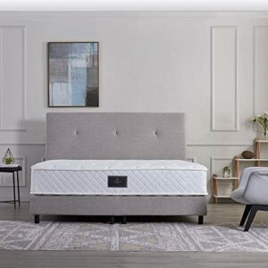 V6 Lit à sommier tapissier 207 – 140 x 200 cm – H4 – Gris