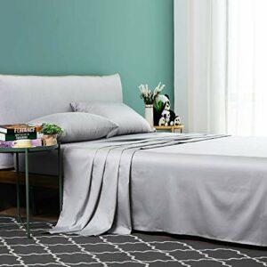 Vanc Home Drap de lit en Coton égyptien, Coton, Gris Clair, 290 x 300 cm