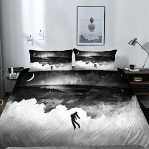 Vhm Parure de lit 3 pièces avec housse de couette et 2 taies d'oreiller, fermeture éclair dissimulée et attaches d'angle, impression numérique