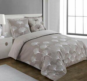 Vision Housse de Couette Ginko – 260x240cm avec 2 taies d'oreiller – 100% Coton