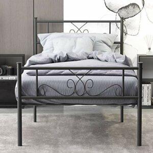 WeeHom Cadre de lit double en métal 32,7 cm – Solide – Anti-bruit – Antidérapant – Pas de sommier tapissier nécessaire – Noir
