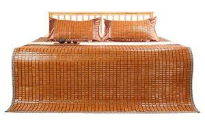 Xbswhm Tapis de Couchage Traditionnel en Bambou, Matelas de Lit Pliable Respirant et Rafraîchissant, Surmatelas, Tapis de Sol en Bambou pour Lit Simple/Double/Queen Size,150cm*195cm(4.9ft*6.3ft)