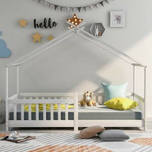 YinKuu Beau lit de maison en bois massif avec clôture et sommier à lattes, protection contre les chutes pour chambre d'enfant et d'adolescent, blanc (200 x 90 cm)