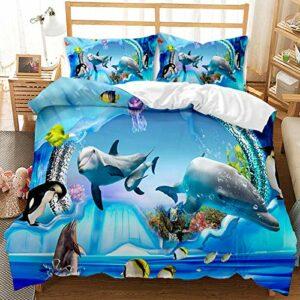 YIUA Housse de couette pour animaux de la mer, bleu, tortue de mer, dauphin, impression 3D pour enfants et adolescents (220 x 240 cm)