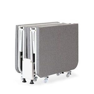 YSXFS Lit Invité Pliant, Lit Pliant avec Matelas en Mousse épais, Lit De Bureau Portable Canapé-lit Multifonctionnel Invités avec Roues, Chargement Jusqu'à 300 Kg Lit Simple(Size:60CM,Color:Gris)