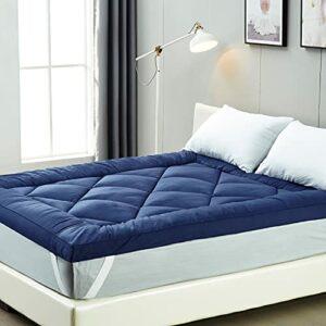 IMISSYOU Surmatelas 140 x 190 cm – Bleu – Doux, en Microfibre – Hypoallergénique et résistant aux acariens – Lavable – Version d'essai 40 Nuits