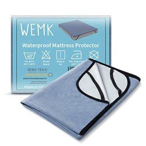 Wemk Protège Matelas Imperméable avec 4 Bandes élastiques, Alèse Réspirante, Silencieux, Anti-Allergies,Anti-bactérien, Anti-acariens, certifié ISPA, CertiPUR-EU, Oeko-TEX (1 Pack, 140x190cm)