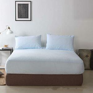HAIBA Drap-Housse en Peluche Super Doux certifié,Bleu Clair,150×200+30cm
