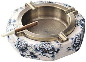 M.XIAO Aschenbecher Kreative Keramiklegierung Aschenbecher Amerikanisches neues chinesisches blaues und weißes Porzellan hochgradige Aschenbecher-Geschenkraucher-Aschenbecher
