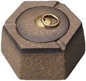 M.XIAO Aschenbecher Retro tragbarer keramischer Aschenbecher mit Deckel winddicht im Freien-Aschenbecher chinesischer Aschenbecher-Aschenbecher