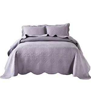 100% coton matelassé couvre-lits jeter couette reine roi haut de gamme 3 pièces couvre-lit décoration réversible chic broderie courtepointe toutes les saisons couverture + 2 taies d'oreiller,
