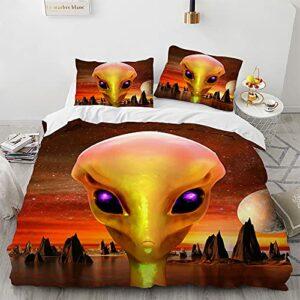 Avniom Housse De Couette 220×260, Aliens Doux et Confortable Housse de Couette Super Extra Large avec Fermeture éclair + 2 Taies d'oreiller 65x65cm